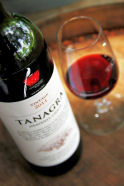 Tanagra wine bottle and glass