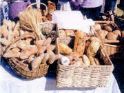 Baskets of bread sor sale on McGregor market